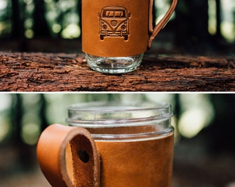 FREE SHIPPING -- Volkswagen Bus Mug Hugger -- Saddle Leather Mug Jacket -- Mason Jar Ball Jar Cover -- VW Bus -- Handmade in Portland Oregon
