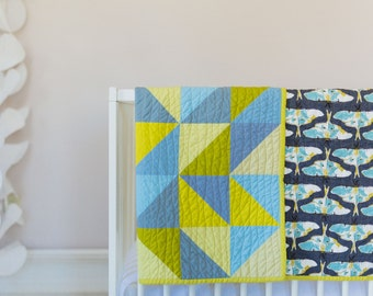 Modern Baby Quilt - Handmade - Woodland - Forest Floor - Gender Neutral - Crib Quilt - Green - Blue - Gray -