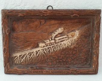 Syroco Mt. Washington New Hampshire Cog Railway Souvenir Plaque