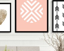 Coral Geometric Art Printable Coral Line Art Prints, Coral Chevron Prints, Chevron Wall Art, Coral Wall Prints, Chevron Printable Art