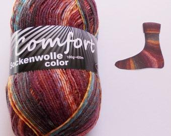 sock yarn 100g (6,- Euro/100g), redbrown, 4ply (216.15)