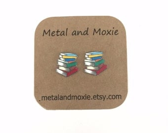Librarian Stud Earrings, Teacher, Book Worm, Book Lover, Under 10 Dollars, Jewelry Gift