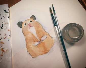 Cute Small Animals: Original Watercolor Painting Print - Hamster No. 1