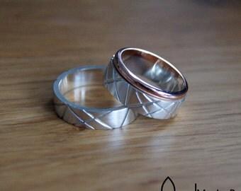 beautiful stripe cross wedding friendship rings