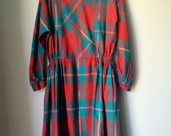 Ladies/vintage/dress/boho/plaid/long sleeve/cotton/Sweden/made in India/small/red/turquoise/purple/trend/indie/folk/classic/unique style
