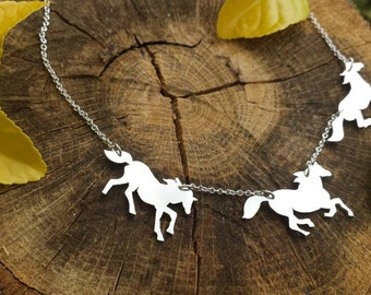 Hand cut running horse necklace, sterling silver horse jewelry, horse pendant, poem jewelry