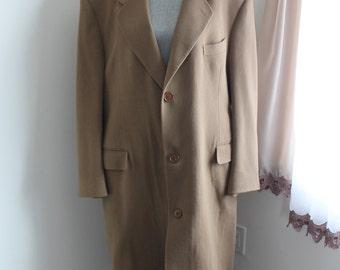 Camel Cashmere Over Coat, Hand Tailored, Mike Vonella, Men's XLarge Coat, Top Coat