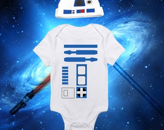 Star Wars Baby R2D2 Set Of A Beanie And A One Piece Bodysuit Lap Shoulder Snap On Robot Outfit Or Costume May The Force Be With You!