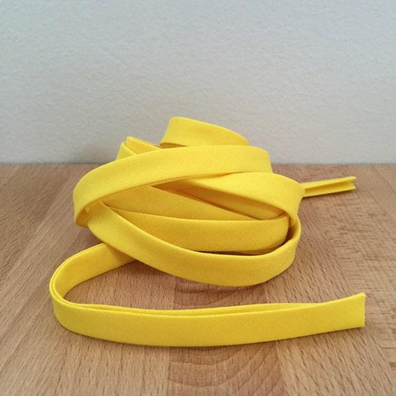 "Bias Tape- Kona Citrus bright yellow cotton 1/2"" double-fold binding- 3 yard roll"