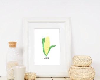 Corn lllustration Printable