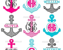 Anchor Monogram Frames SVG Cutting Files - Nautical Anchors Cut Files for Cutting Machines - Cricut, Silhouette, Graphtec, Brother