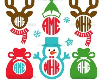 Santa Reindeers and Elf SVG Monogram Files - Christmas Snowman Cut Files for Vinyl Cutting Machines, Cricut, Silhouette, Dxf, Eps, Png