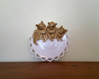 Westmoreland Cat Plate Milk Glass Kitten Open Lace 1950s