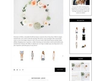 Willow- Minimalist WordPress Theme  —RESPONSIVE Wordpress Website Theme — Self-hosted Wordpress Blog Theme — Feminine Website