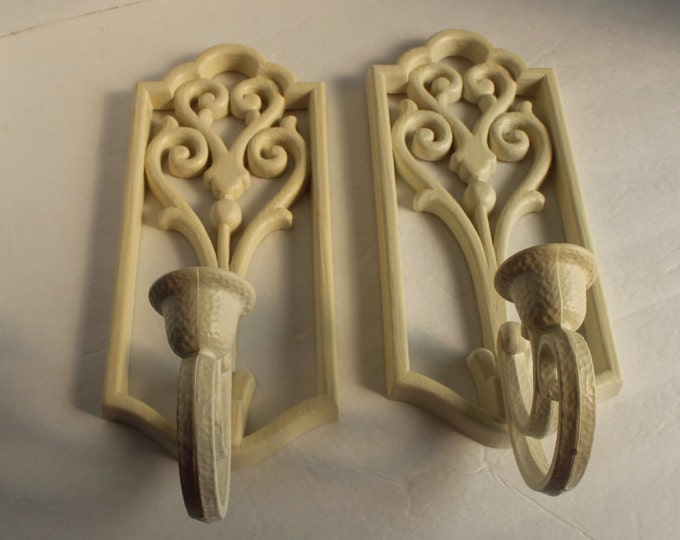 Vintage Pair of White Homco Wall Sconces