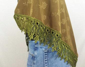 Vintage shawl - Olive green lace trim rose printed flower bohemian hippie shawl