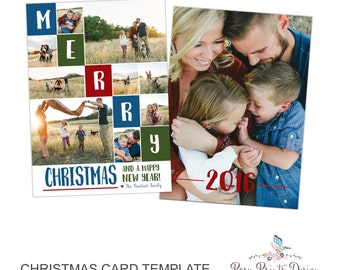 Christmas Card Photoshop Template - 5x7 Photo Card - INSTANT DOWNLOAD or Printable - CC29