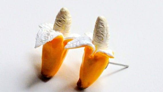 Banana Earrings - Miniature Food Jewelry, Inedible Jewelry, Fake Food Jewelry, Fruit Jewelry, Fruit Earrings, Kawaii Jewelry - Kid's Jewelry