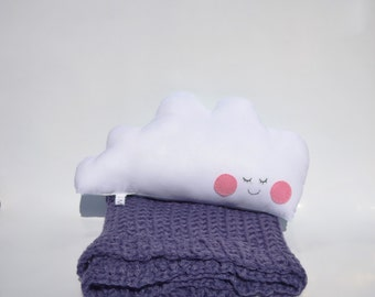 Cloud plush toy pillow with soft blue crochet blankie for baby's room
