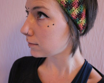 Crochet Flower headband // dreadband // UK // Festival // wool // rainbow // crocht