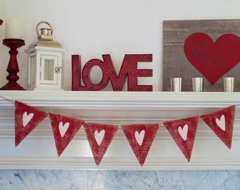 Rustic Red Valentines Banner, Rustic Valentine's Day Banner, Red Heart Banner, Love Hearts Banner, B252