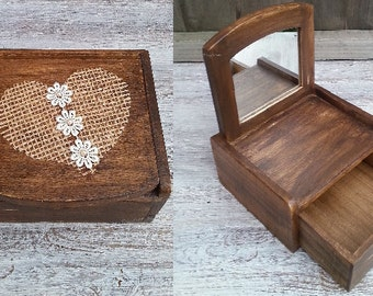 rustic jewellery box, gift for her, rustic jewellery casket, jute, pearls, rustic trinket box, mini drawers, jewellery box with a mirror