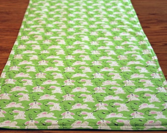 Easter Table Runner, Springtime Table Topper, Reversible, READY TO SHIP, Centerpiece, Home Decor, Quilted, Easter Table Runner, Green