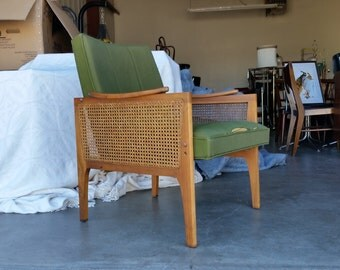 Vintage 1960's Scoop Lounge Chair Mid Century Modern Lawrence Peabody Style Cane Sides Original Upholstery MCM