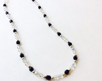 Vtg Black Silver and Clear Crystal Beaded Necklace Single Strand Necklace, Black Onyx Colored and Iridescent Clear Faceted Glass Necklace