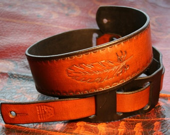 Leather Guitar Strap - Adjustable, hand tooled feather - Custom