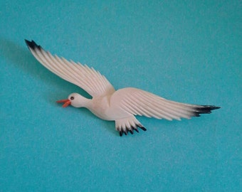 Vintage Seagull Brooch-Carved Bone Brooch-Bird Brooch-Nautical Jewelry