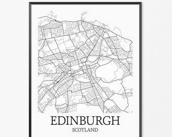 Edinburgh Map Art Print, Edinburgh Poster Map of Edinburgh Decor, Edinburgh City Map Art, Edinburgh Gift, Edinburgh Scotland Art Poster
