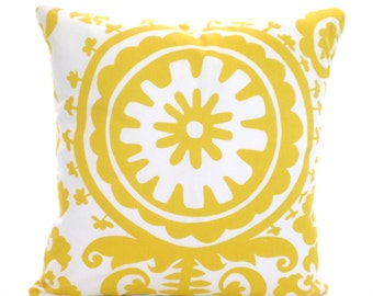 SALE Yellow Decorative Throw Pillow Covers Cushions Corn Yellow Suzani on White Couch Pillows, Yellow Cushions One or More All Sizes