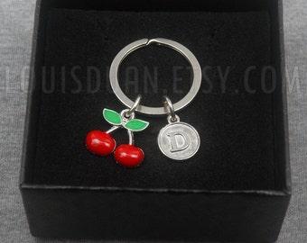Cherry Key chain -Fruit Keychain -Initial Keychain -Your Choice of A to Z
