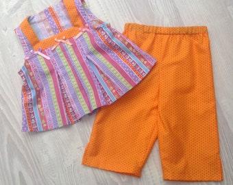 Girls Top & 3/4 Length Pants Set - size 2