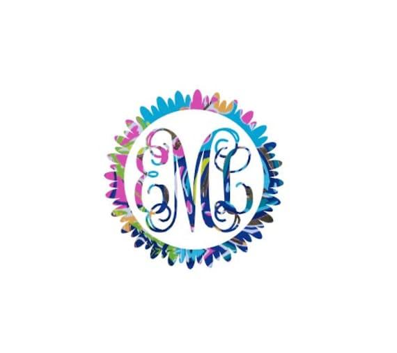 Free Shipping-Flower Monogram Decal, Lilly Pulitzer inspired monogrammed decal sticker, Personalized,Yeti, Laptop,Monogram Sticker