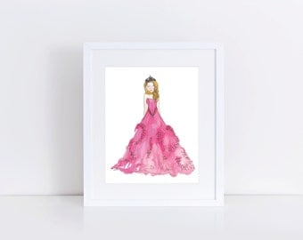 Princess in Pink Art Print - 8x10