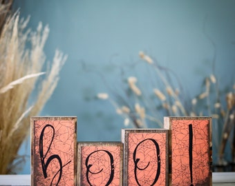 Home Decor Wood Blocks - Happy Halloween - {Boo! - Halloween wood blocks, Halloween decor, Halloween Blocks}