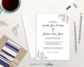 Classic Wedding Invitation Suite // 5x7 Invitation // Choose Your Set! // The Amelia Collection