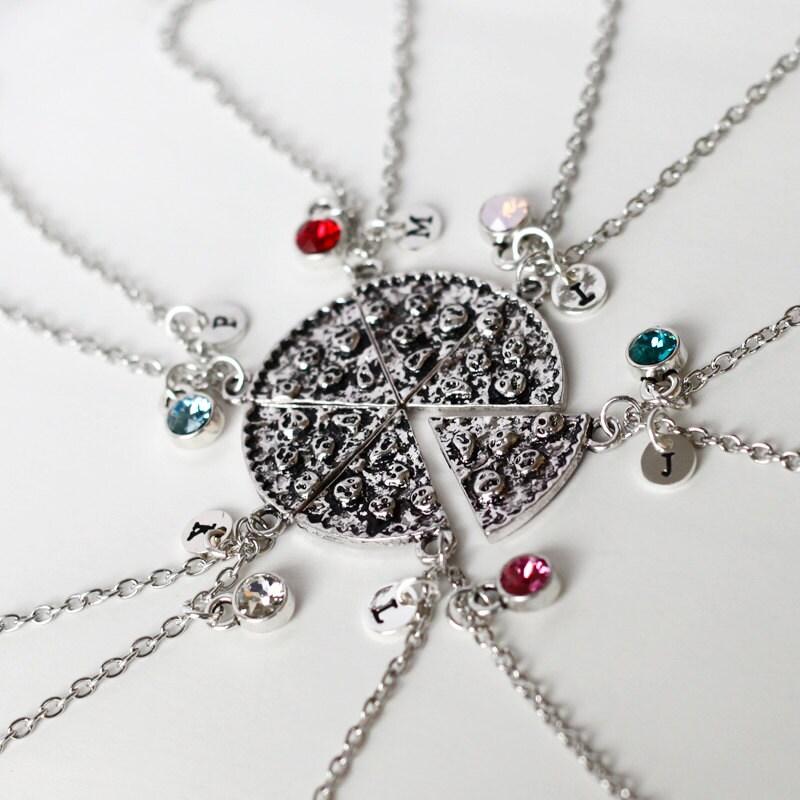 pizza necklace pizza slice necklace birthstone by