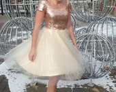 Janay Marie Designs - Rose Gold Sequin + Champagne Tulle Party Dress - Custom-made