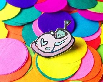 Pink dodgem pin - bumper car pin - hard enamel pin - lapel pin - hat pin - pin badge