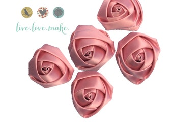 "Soft Pink-Mini Rolled Satin Rosettes - 1.5"" Satin Flower -Rosette -Fabric Flower -Rolled Rosette-small-petite-mini-Wholesale"