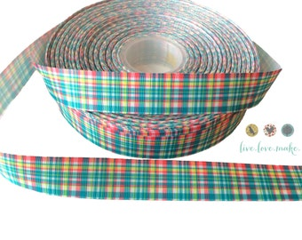 "7/8"" Spring Pastel Plaid-Grosgrain Ribbon-Easter-Print-Ribbon by yard-DIY Headbands-trim-check-wholesale-holiday"