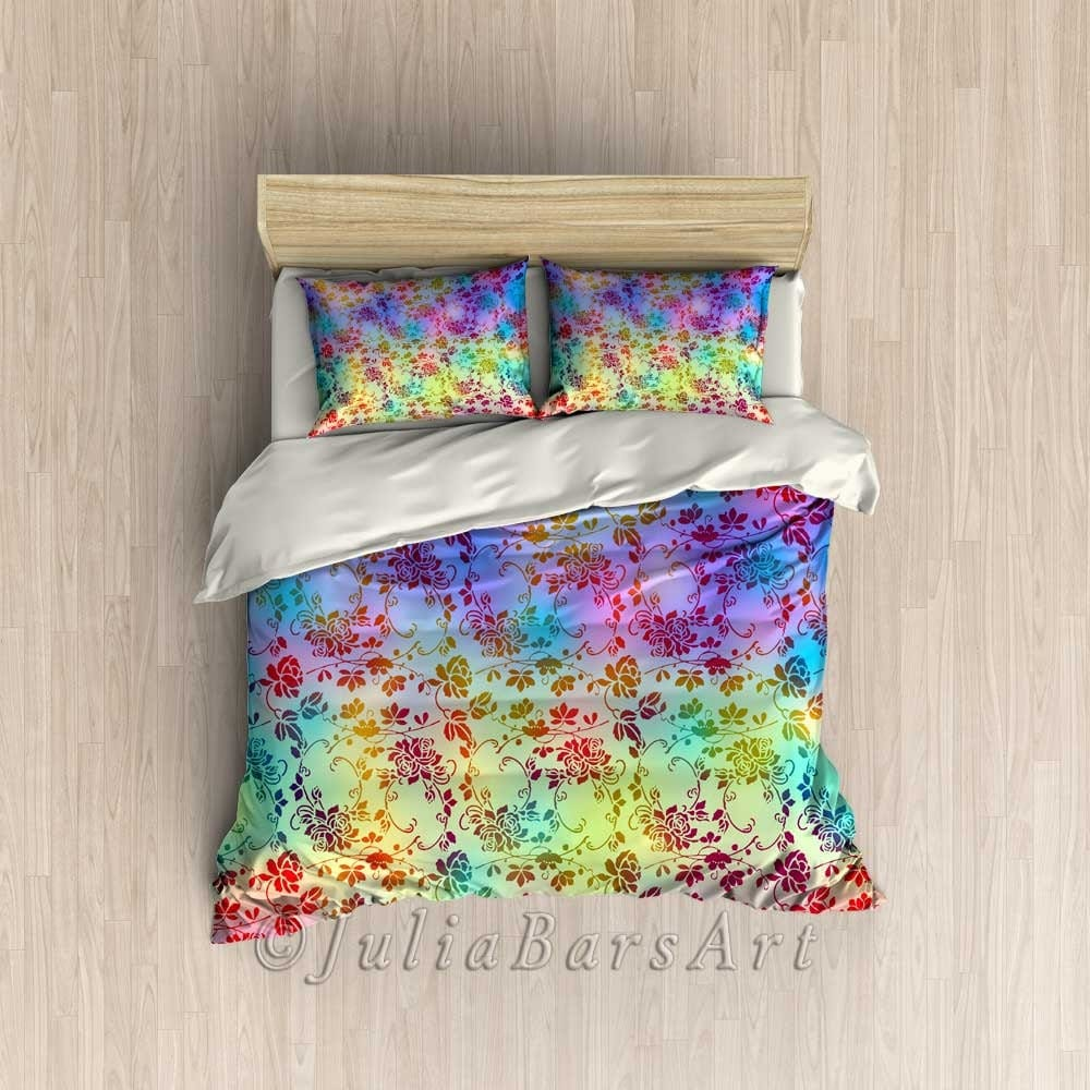 Floral Duvet Cover Purple Pink Turquoise Bohemian Bedroom
