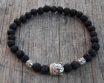 Buddha Bracelet,Lava Bracelet,8mm Lava Gemstone Beads,Spirituality Bracelet,Man,Woman,Good Luck Bracelet,Prayer,Yoga,Protection,Meditation