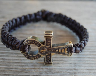 Ankh Cross Bracelet,Black String Bracelet,Macrame,Hemp Bracelet,Good Luck,Pray,Men,Woman,Yoga Bracelet,Protection,Meditation,Protection