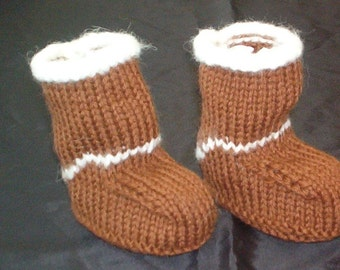 Hand Knit Ugg Inspired Baby Booties Size 0-3 - 6-9 - 12 months