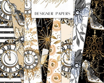 New Year's Eve Digital Paper Clock Champagne Flowers Sliver Gold Glitter Pattern | planner stickers, graphics  resources, Fabric, Backdrop