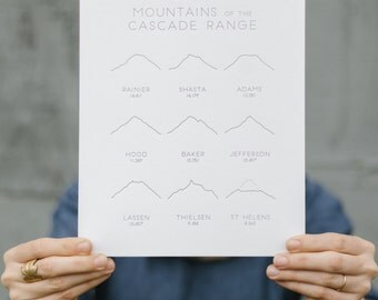 Letterpress Mountains of the Cascade Range 8x10 Art Print